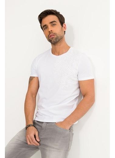 Avva Erkek  Bisiklet Yaka Baskılı Tişört A01S1258 Beyaz